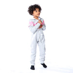 Light Grey Kids Polar Piece with Pink Arctic Print