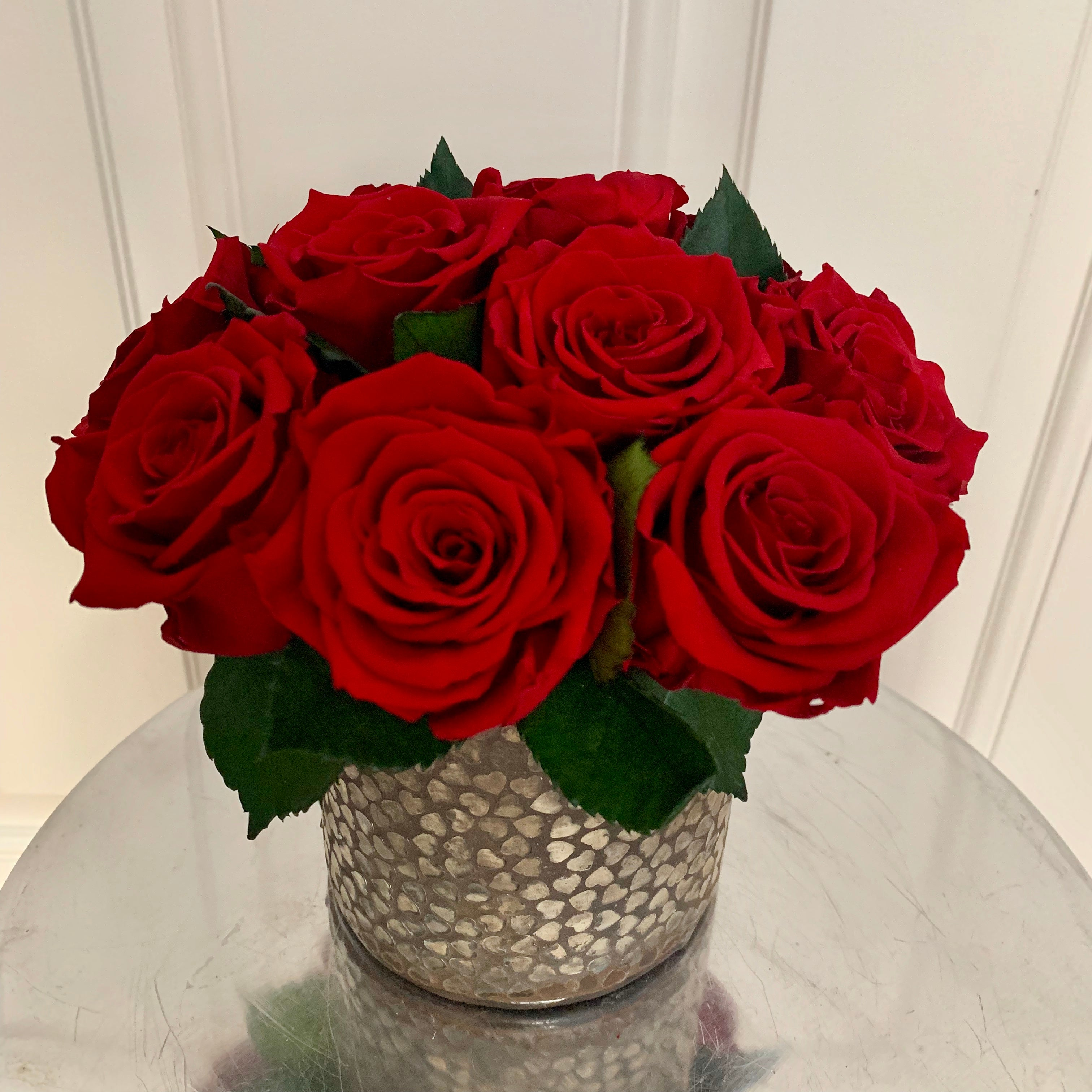 Everlasting Roses in a Rustic Heart Vase