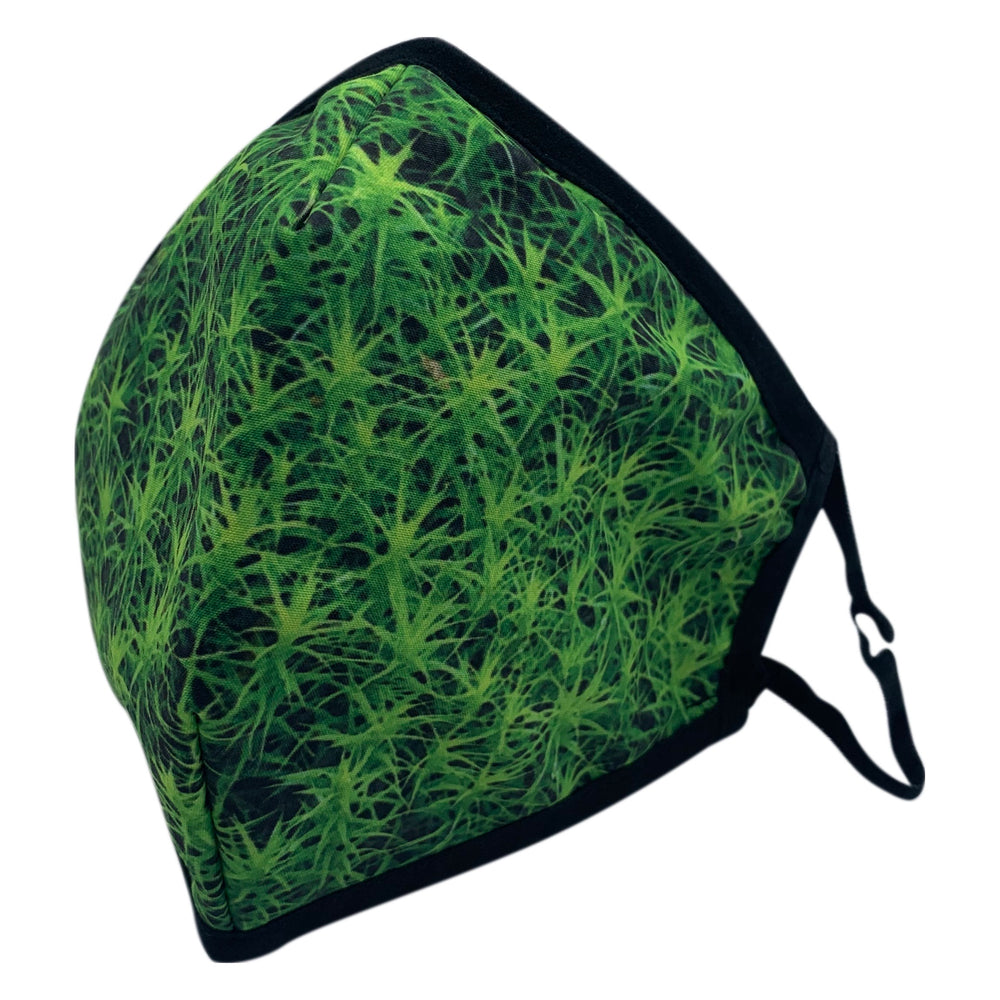 😷 3 Layer Washable & Reusable Face Mask - Adult -  Green Flower