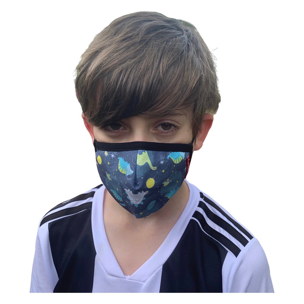 Load image into Gallery viewer, 😷 Washable & Reusable Face Mask - Kids - Dinosaur