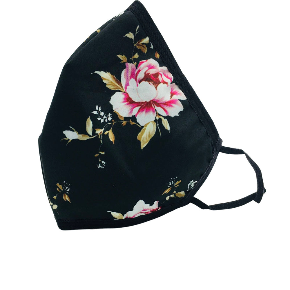 😷 3 Layer Washable & Reusable Face Mask - Adult -  Black with Pink & White Flower