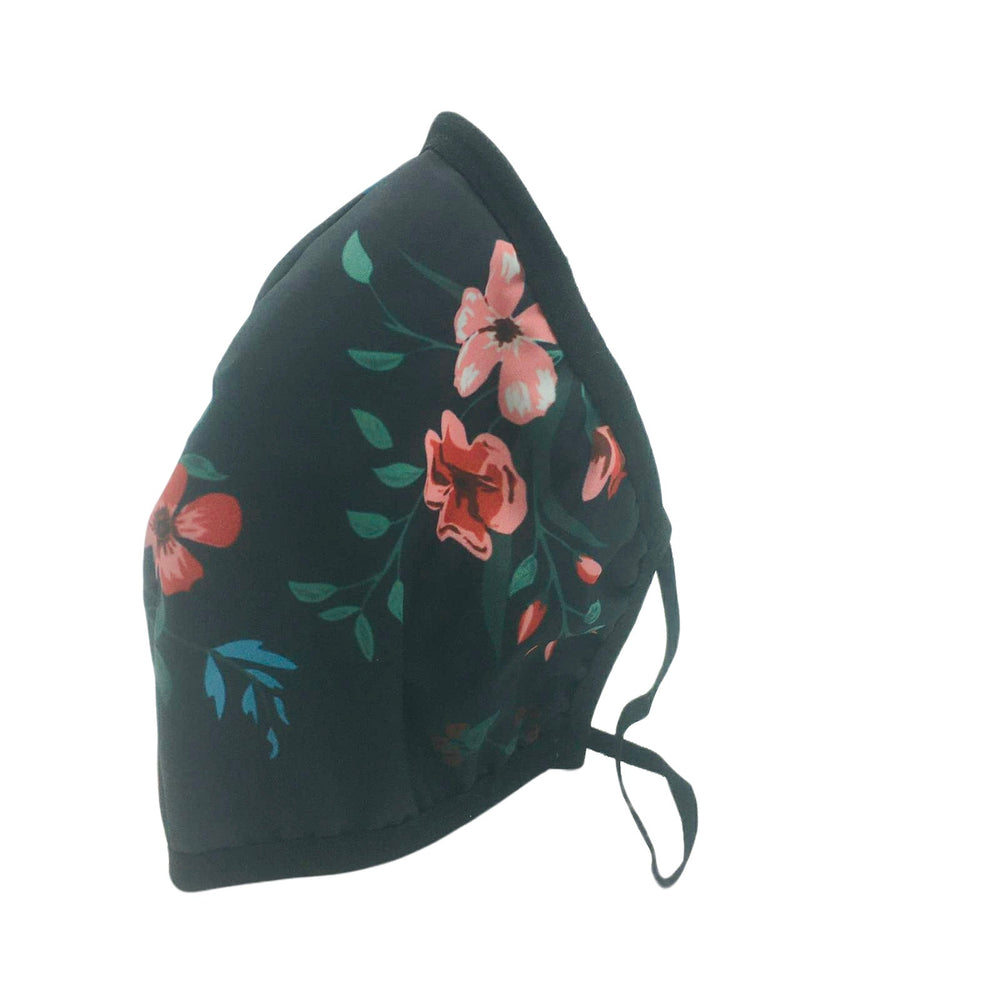 😷 Washable & Reusable Face Mask - Adult -  Black with pink, red & blue flowers