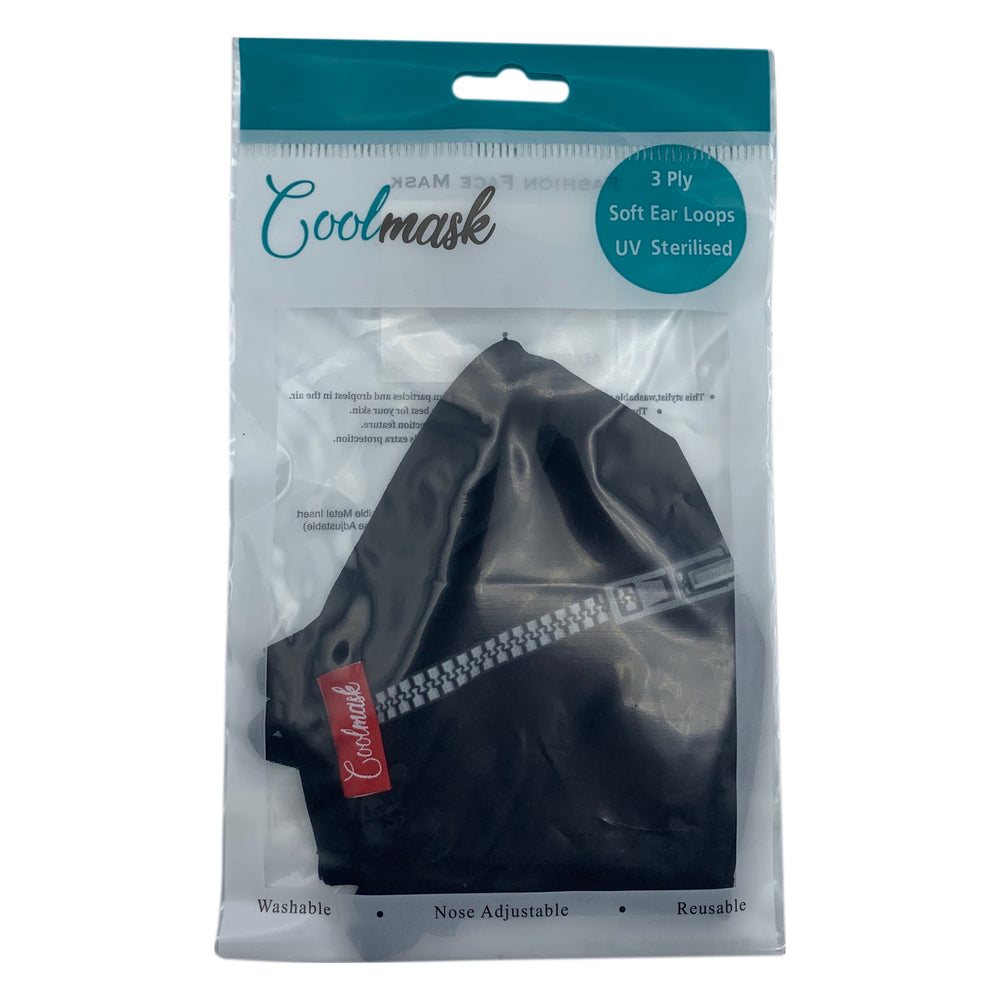 😷 3 Layers Washable & Reusable Face Mask - Adult -  Black with Zip