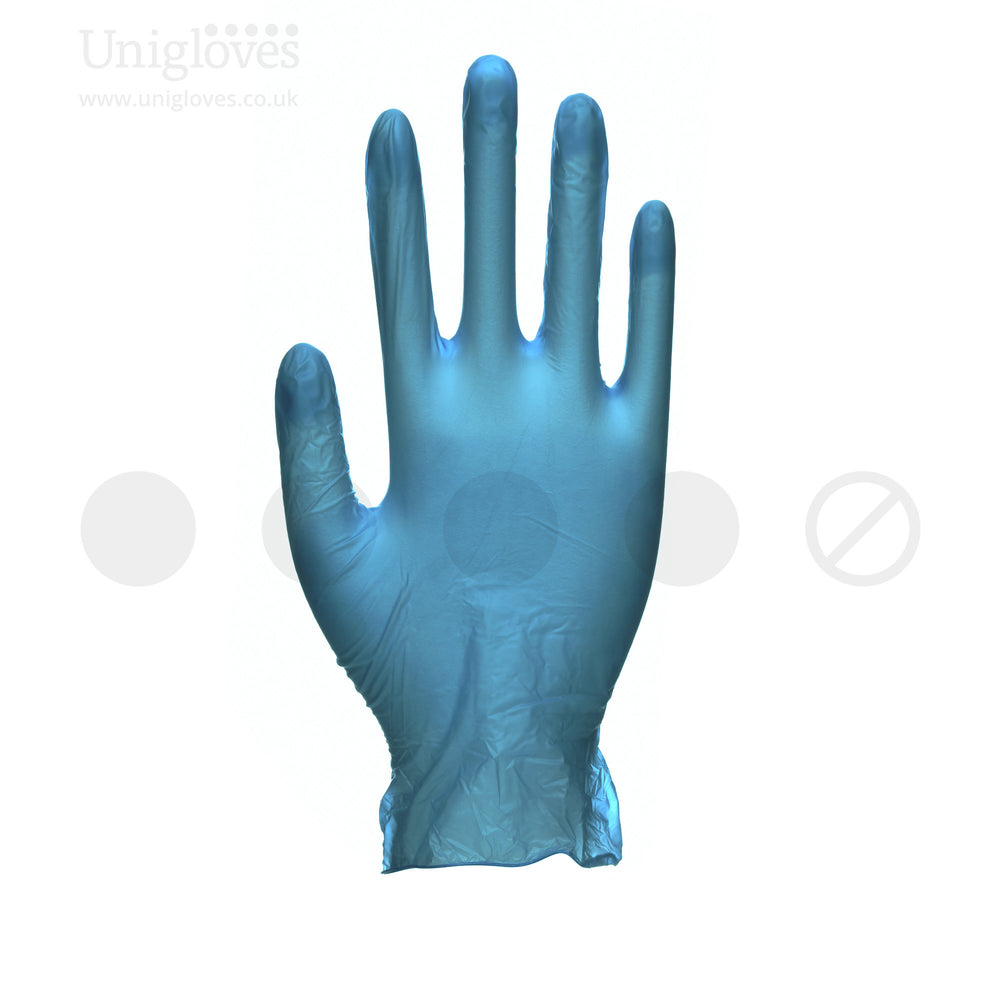 1000 Unigloves Unicare Soft Blue Vinyl Gloves. Powder Free - 1000 Gloves - SMALL