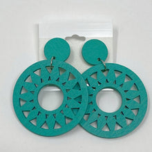 Load image into Gallery viewer, Celebrity Creations Teal Wood Earrings