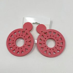 Celebrity Creations Pink Wood Earrings