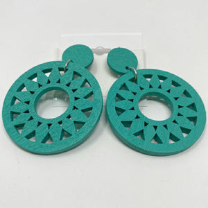 Celebrity Creations Teal Wood Earrings