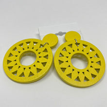 Load image into Gallery viewer, Celebrity Creations Yellow Wood Earrings