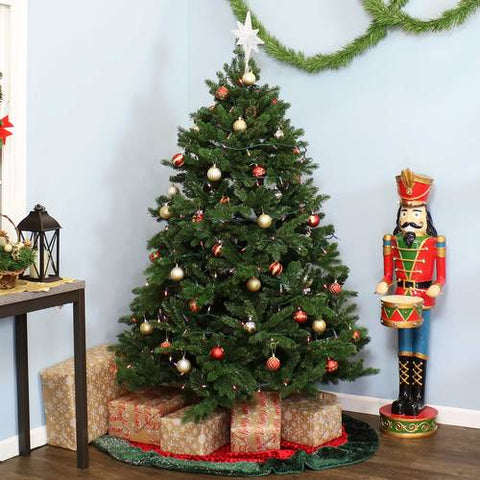This artificial unlit Christmas tree is a must when your are decorating your living room for Christmas.