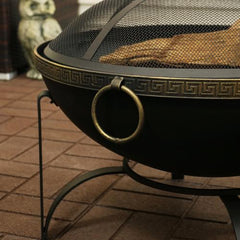 Durable steel material on a outdoor fire pit