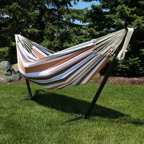 Brazilian hammock with stand displayed in the backyard