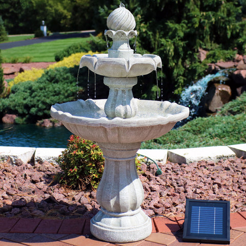 Tiered solar fountain running with the power of its solar pump
