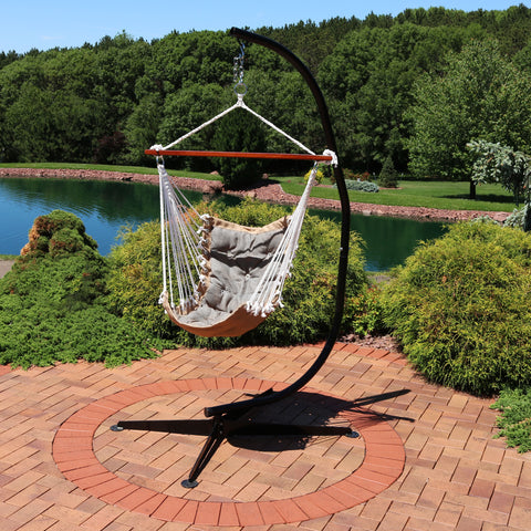 A hammock chair stand is the perfect choice to hang a hammock chair without trees.
