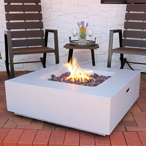 Propane gas fire pit on the patio