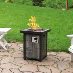 "Sunnydaze 24"" Propane Gas Fire Pit Table with Weathered Wood Look"