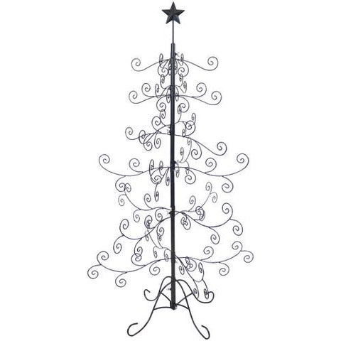 This black metal Christmas ornament tree is a great alternative when decorating your room for Christmas.