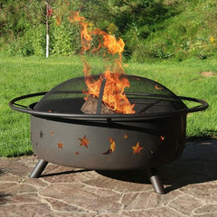 Sunnydaze Large Cosmic Fire Pit with a roaring flame.