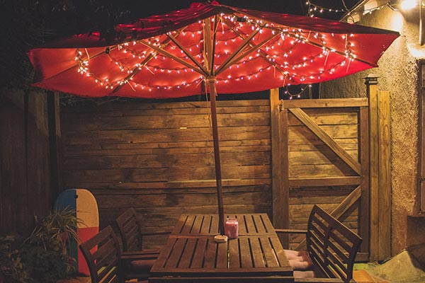 Patio Umbrella with String Lights