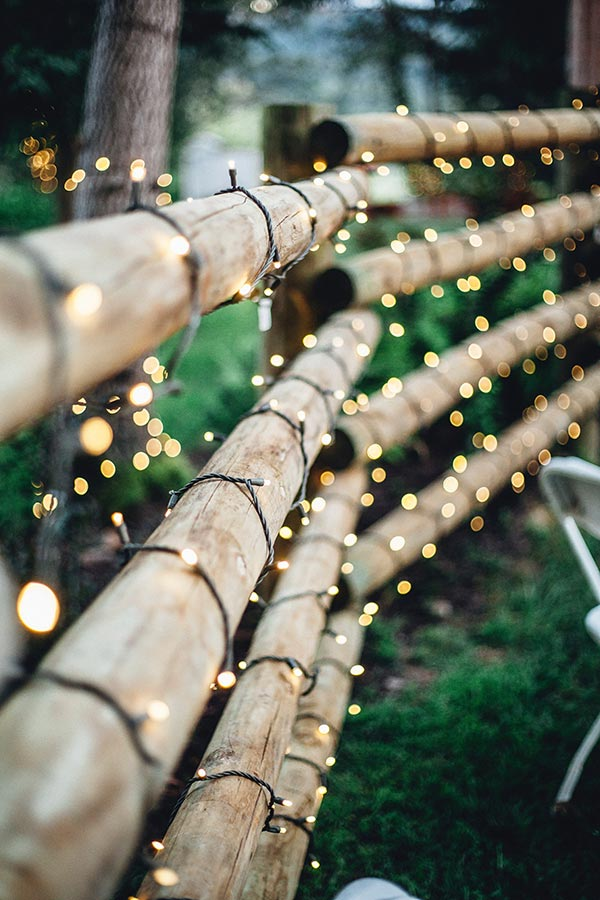 String Lights on Rustic Fence