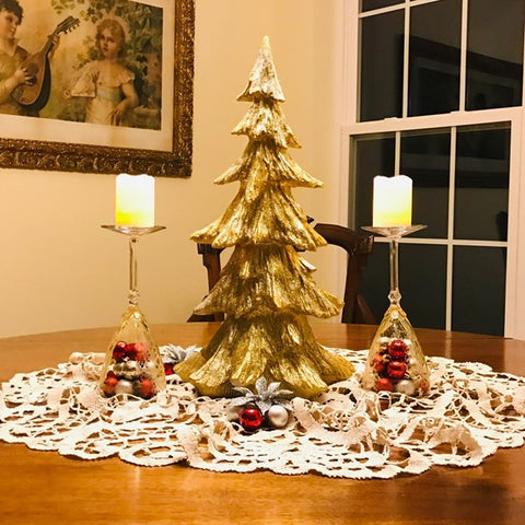 This tabletop holiday tree is a great way to decorate your dining room for Christmas.