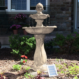 Solar-powered fountain with calming cascading water