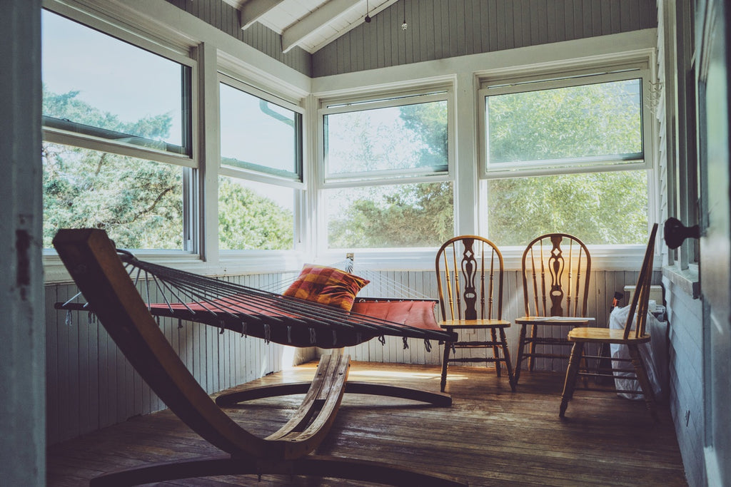 Hammock used inside the house a as bed