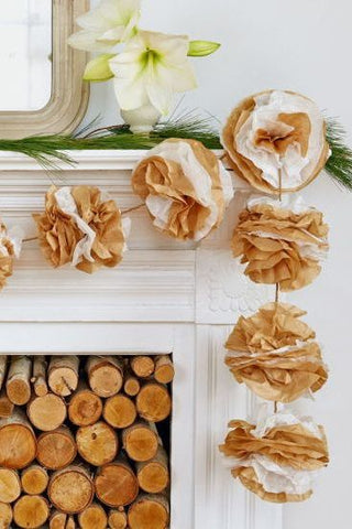 Gorgeous coffee filter garlands will add a nice touch when decorating your room for Christmas