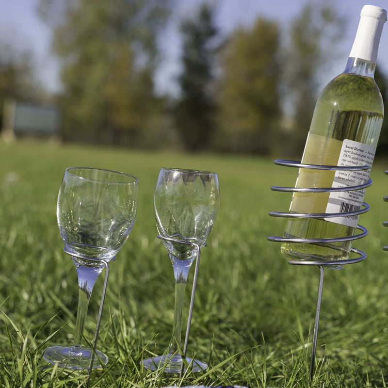 Sunnydaze Stainless Steel Wine Holder and Glass Holder Stake Set