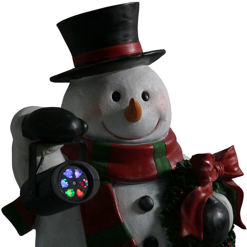 Sunnydaze Festive Traveling Snowman Indoor Statue, Polyresin, 27-Inch