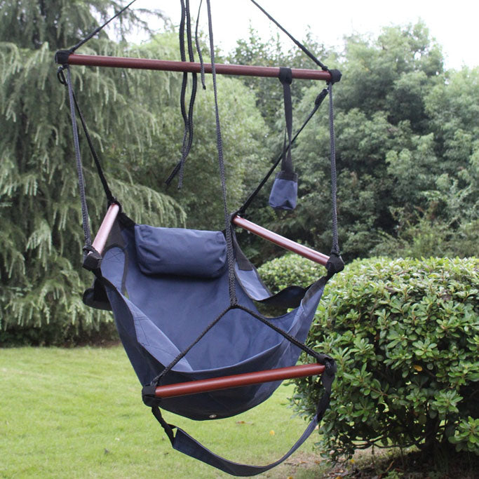 Hanging hammock chair displayed in the backyard.