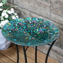 "Sunnydaze Bird Bath Bowl with Stand Glass Peacock Feather Design - 14"" Diameter"