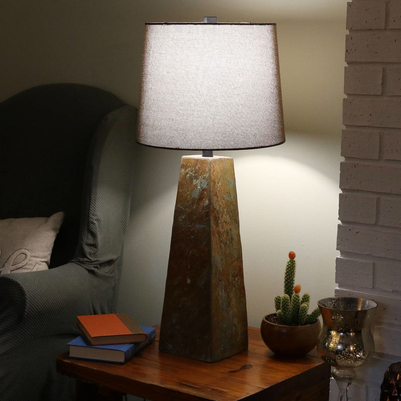 CASL Brands Indoor Table Lamp with Slate Pyramid Base and Fabric Lampshade, 31-Inch
