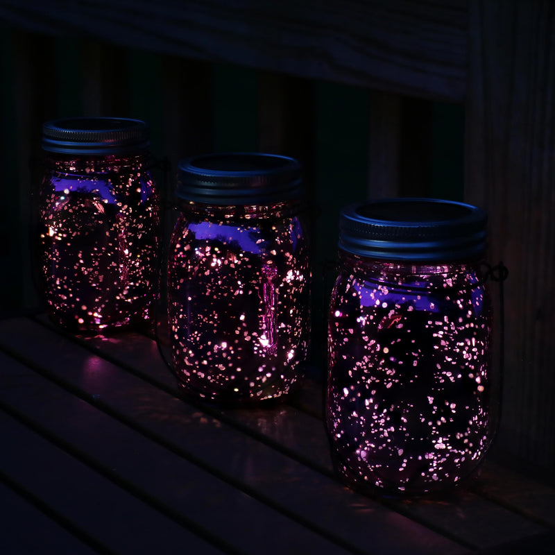 Sunnydaze Pink Mercury Glass Solar-Powered LED Lighted Lantern Jar, Set of 3