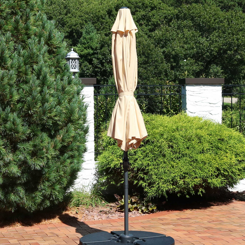 Sunnydaze Offset Outdoor Patio Umbrella with 360-Degree Rotation - 9-Foot