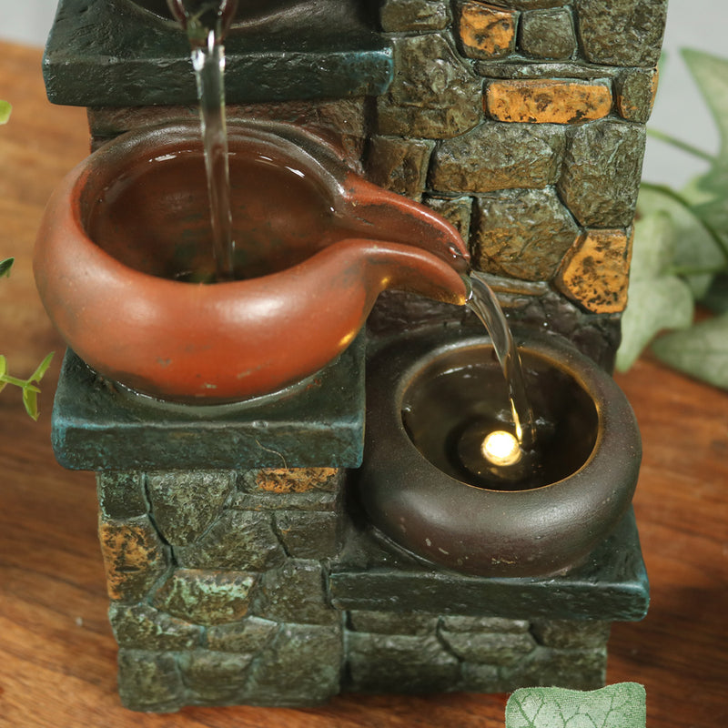 Sunnydaze Tiered Pitchers on Brick Steps Tabletop Fountain with LED Light, 10 Inch Tall
