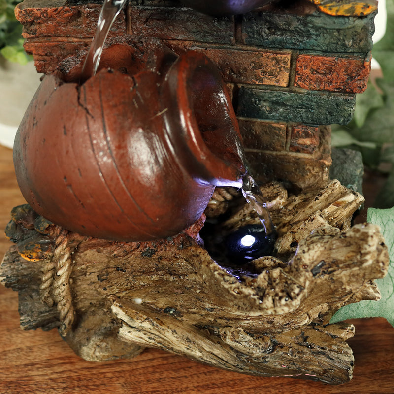 Sunnydaze Rustic Brick Wall and Jugs Tabletop Fountain with LED Light, 10.5 Inch Tall