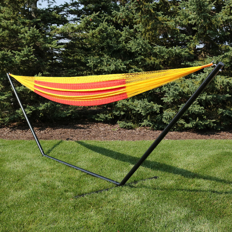 Mayan hammock with stand displayed in the backyard,