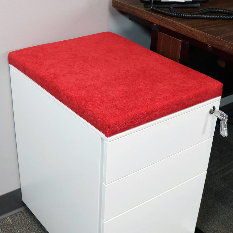 CASL Brands File Cabinet Cushion Seat for Mobile Pedestals, with Magnetic Back