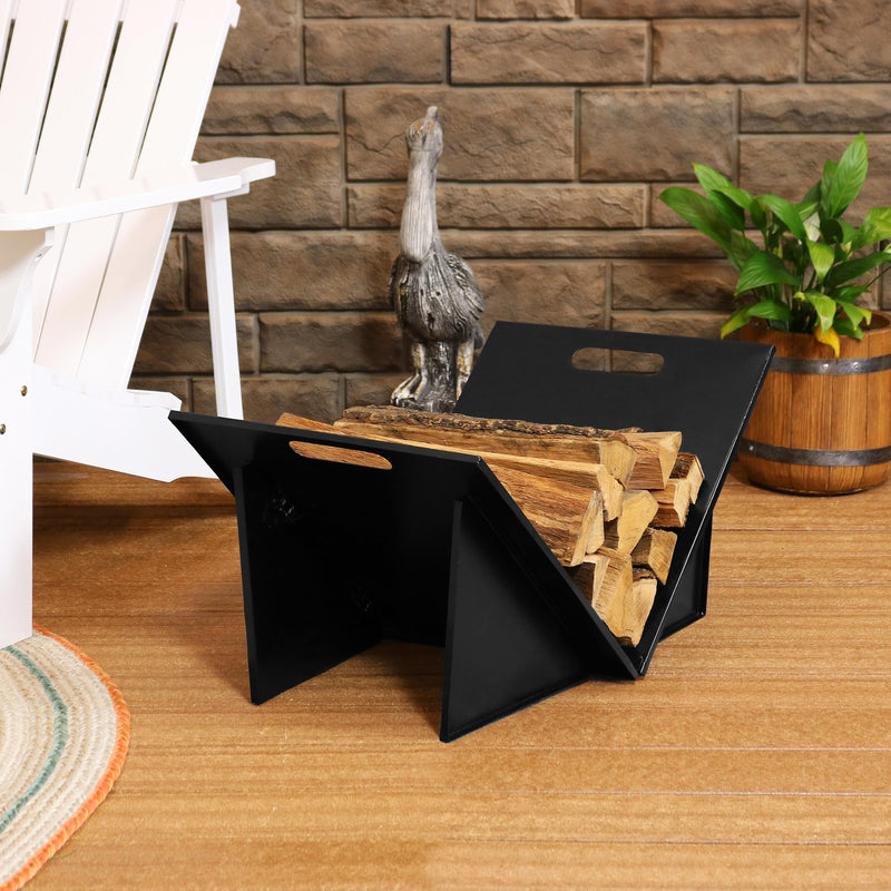 Sunnydaze Indoor and Outdoor Folding Black Steel Log Rack - 27 Inch