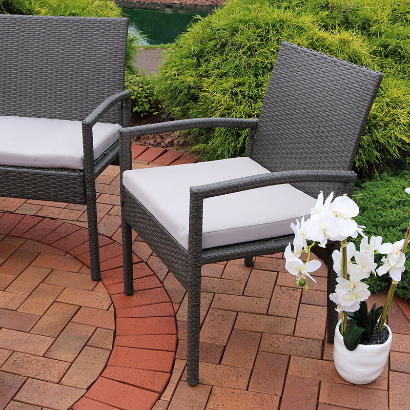 Sunnydaze Pompeii 4-Piece Wicker Rattan Lounger Patio Furniture Set with Grey Cushions