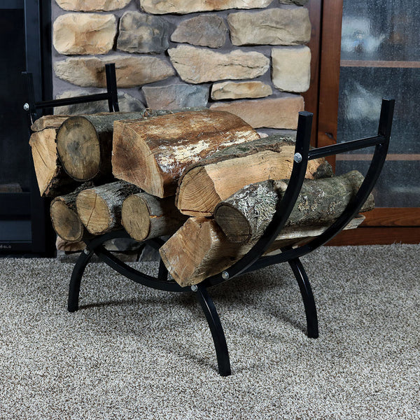 Curved indoor firewood log rack placed next to the fireplace.