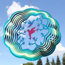 Sunnydaze Turquoise Hummingbird Wind Spinner with Hook, 12-Inch