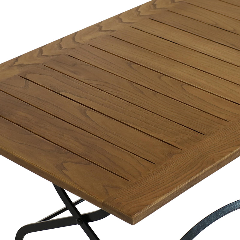 Sunnydaze European Chestnut Wood Folding Coffee Table - 60 inches x 24 inches