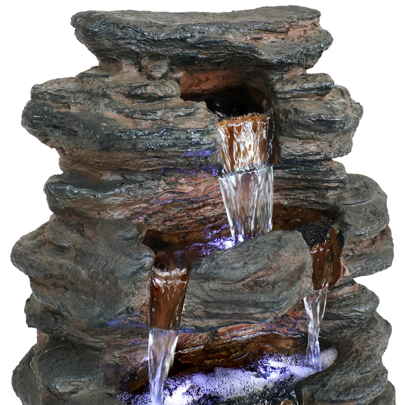 Sunnydaze Tumbling Falls Rock Style Water Fountain with LED Lights, 20-Inch