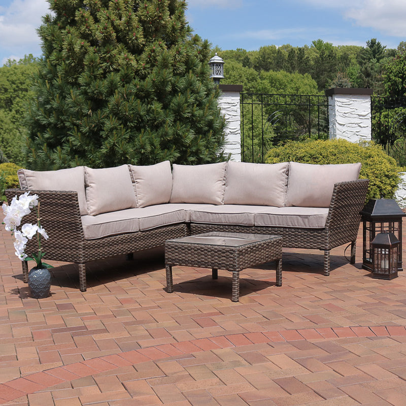 Sunnydaze Avel Wicker Rattan 4-Piece Sofa Sectional Patio Furniture Set with Taupe Cushions