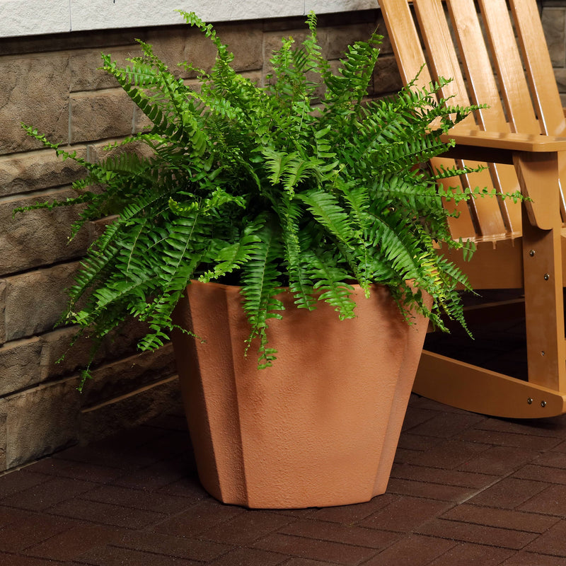 Sunnydaze Jefferson Outdoor/Indoor Planter Pot, Heavy-Duty Double-Walled Polyresin with UV-Resistant Natural Clay Finish, 20-Inch