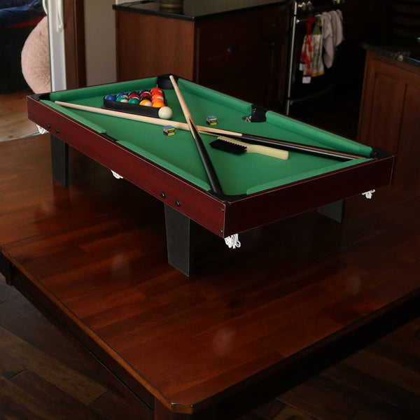 Sunnydaze 36-Inch Mini Tabletop Pool Table with Triangle, Balls, Cues, Chalk and Brush