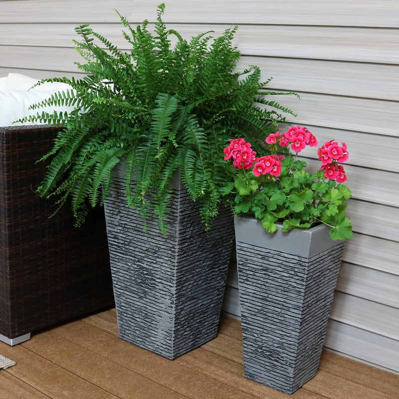 Sunnydaze High-Rise Fiber Clay Indoor/Outdoor Modern Square Flower Pot Planter Sets, Multiple Options Available