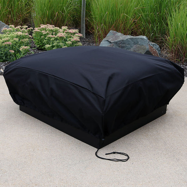 Heavy duty square fire pit cover protects a fire pit from the elements.
