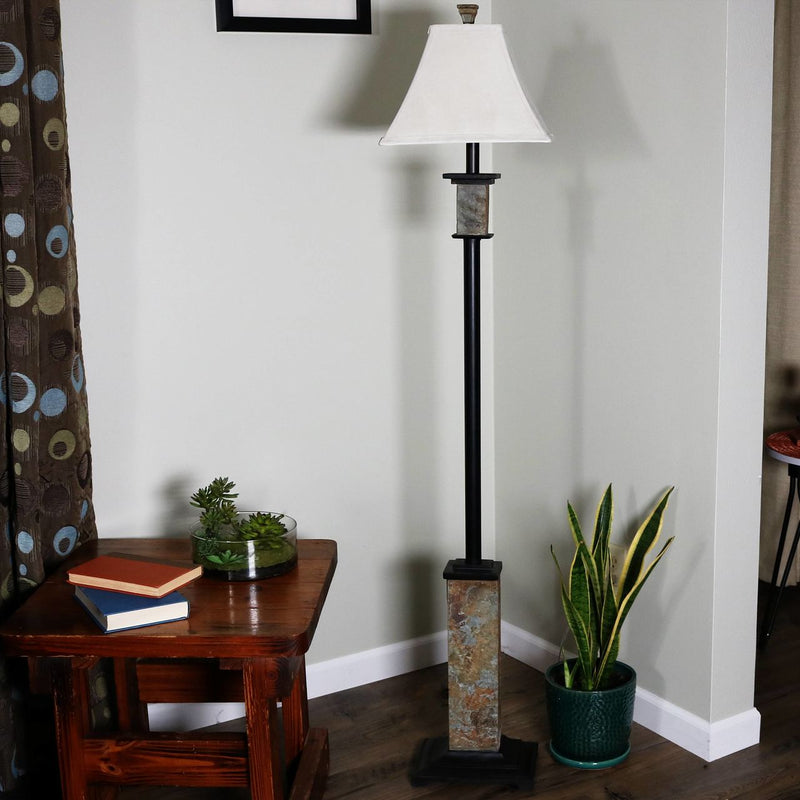 CASL Brands Indoor Floor Lamp with Metal and Slate Base and Fabric Lampshade, 60-Inch
